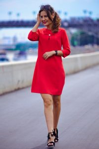 Платье красное, длина миди в интернет-магазине Dressex.ru