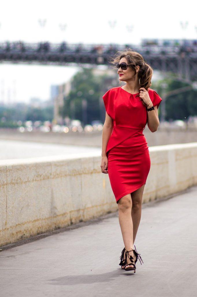 Платье красное, длина миди в интернет-магазине www.dressex.ru