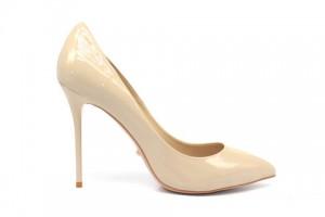 Angelina Voloshina туфли бежевые 10 см каблук. Лакированная кожа. Мыс – острый. Артикул 3318.