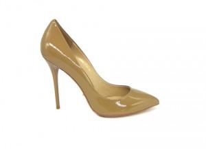 Angelina Voloshina туфли темно-бежевые из лакированной кожи 10 см каблук. Мыс – острый. Артикул 3318.