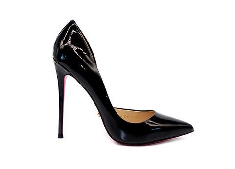 Туфли-лодочки Angelina Voloshina открытые черные лакированная кожа в интернет-магазине DRESS'EX