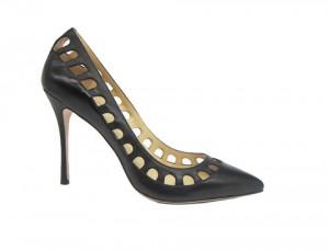 Туфли-лодочки Angelina Voloshina черные кожаные с перфорацией