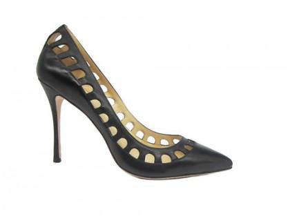 Туфли-лодочки Angelina Voloshina черные кожаные с перфорацией в интернет-магазине DRESS'EX