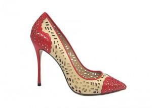 Туфли-лодочки Angelina Voloshina красные кожаные с перфорацией