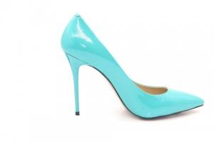 Angelina Voloshina туфли голубые из лакированной кожи 10 см каблук. Мыс – острый. Артикул 3321.
