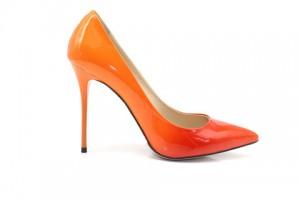 Angelina Voloshina туфли оранжевые 10 см каблук. Лакированная кожа. Мыс – острый. Артикул 3320.