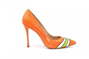 Angelina Voloshina туфли оранжевые из фактурной кожи 10 см каблук. Мыс – острый. Артикул 3321.