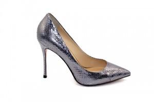 Angelina Voloshina туфли темно-серые из фактурной кожи 10 см каблук. Мыс – острый. Артикул 3319.