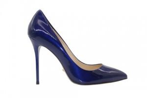 Angelina Voloshina туфли темно-синие из лакированной кожи 10 см каблук. Мыс – острый. Артикул 3321.