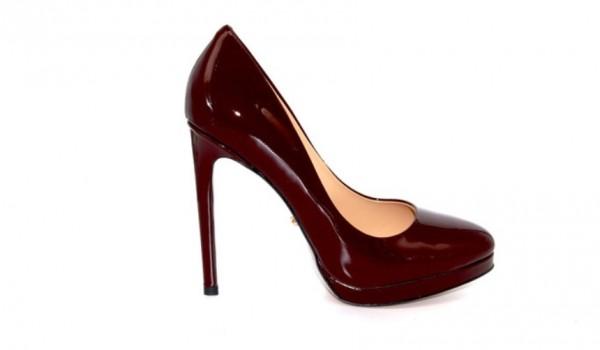 Туфли бордовые из лакированной кожи на платформе в интернет-магазине www.dressex.ru