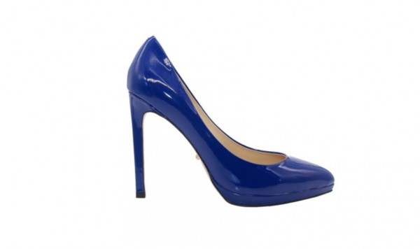 Туфли синие из лакированной кожи на платформе в интернет-магазине www.dressex.ru