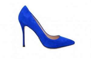 Туфли синие из натуральной замши 10 см каблук