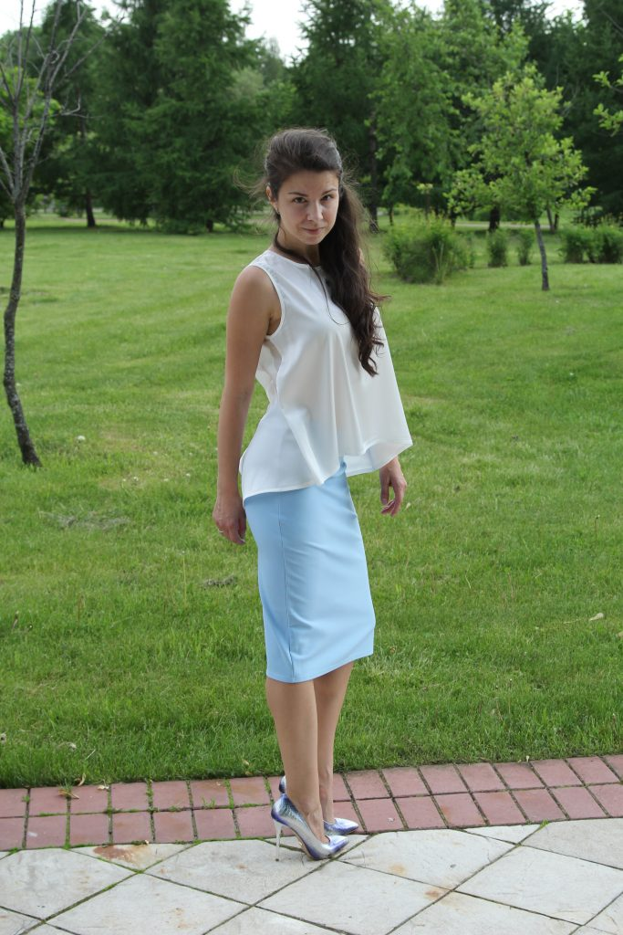 Юбка-карандаш голубая в интернет-магазине www.dressex.ru