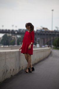 Платье красное А-силуэта, длина миди, рукав три четверти в интернет-магазине Dressex.ru