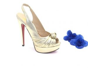 Босоножки Angelina Voloshina золотистые на платформе из натуральной кожи интернет-магазине www.dressex.ru