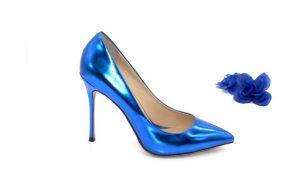 Туфли синие из натуральной металлизированной кожи каблук 10 см в интернет-магазине www.dressex.ru