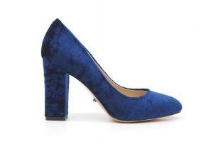 Angelina Voloshina туфли синие бархатные на толстом каблуке в интернет-магазине www.dressex.ru