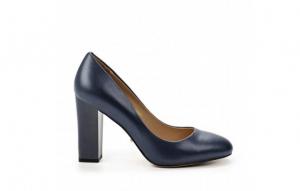 Angelina Voloshina туфли синие из натуральной гладкой кожи на толстом каблуке в интернет-магазине www.dressex.ru