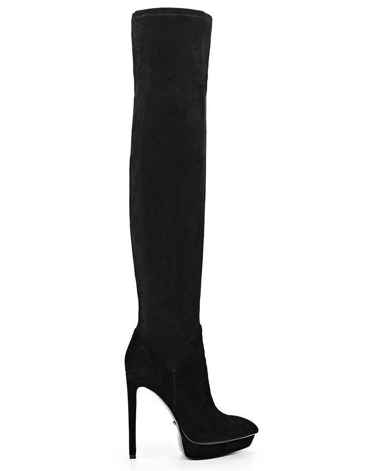 Angelina Voloshina сапоги ботфорты из замши-стрейч каблук 10 см в интернет-магазине www.dressex.ru