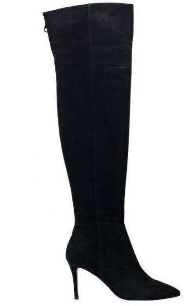 Angelina Voloshina черные сапоги ботфорты из замши каблук 8 см в интернет-магазине www.dressex.ru
