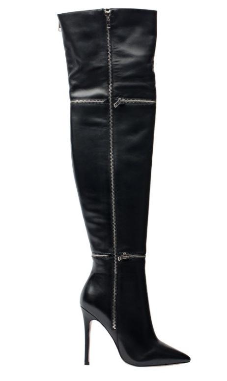 Angelina Voloshina черные сапоги ботфорты из гладкой кожи каблук 10 см в интернет-магазине www.dressex.ru