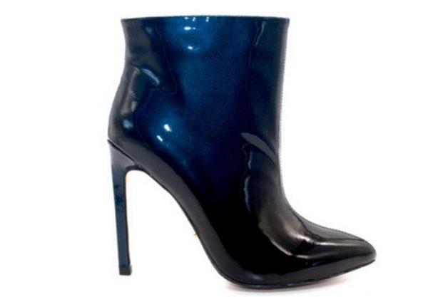 Angelina Voloshina ботильоны синие из натуральной лакированной кожи каблук 10,5 см в интернет-магазине www.dressex.ru